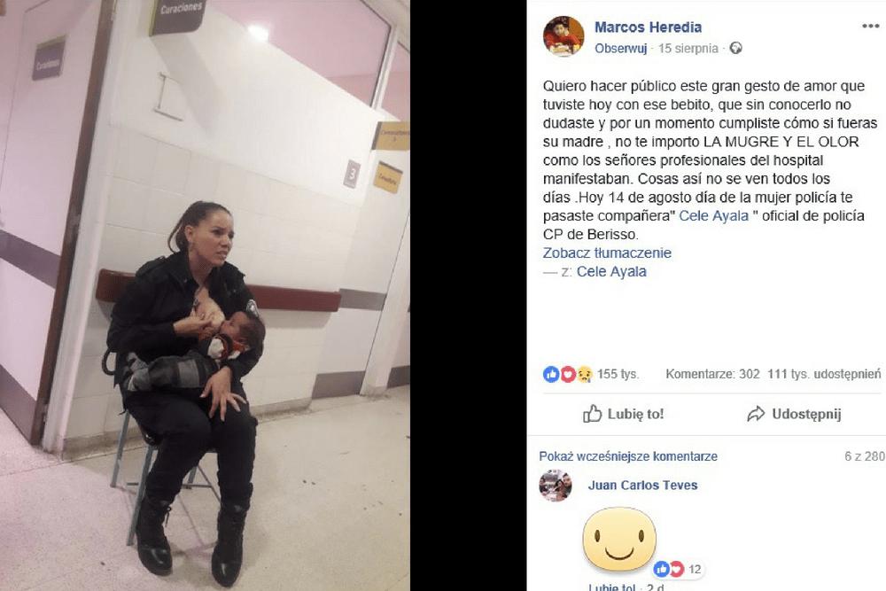 Cele Ayala, karmienie piersią, policjantka nakarmiła obce dziecko, mleko matki